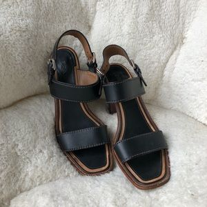 Prada leather buckle strap heeled sandals